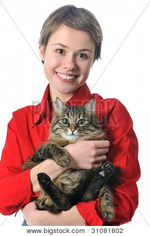 girl with cat isolated on white background