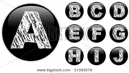 Alphabet Chalk Letters In Shiny Black Buttons