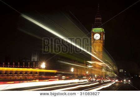 Long Exposure Lights From Traffic Big Ben London At Night
