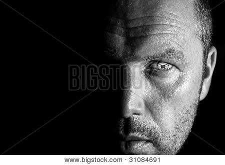 Unusual Portrait Of Man Face With Face As Pupil Of Eye With Half Face Hidden