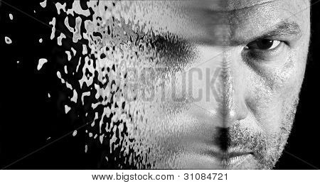 Sci Fi Looking Image Of Man's Face Seeming To Shatter And Blow Away
