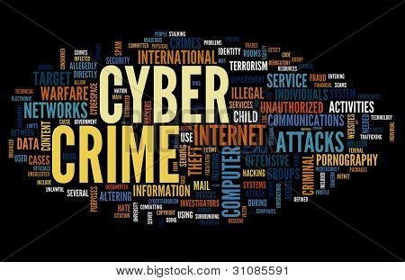 Cyber crime concept in word tag cloud isolated on black background