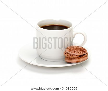 Colorful Macaroon And Cup Of Coffee