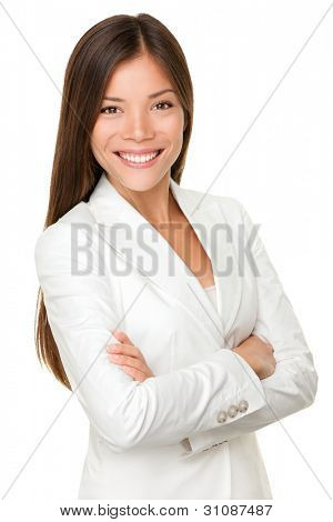 Asian business woman. Businesswoman portrait of smiling happy mixed race young professional in her twenties isolated on white background wearing suit proud. Mixed Asian / Caucasian female model