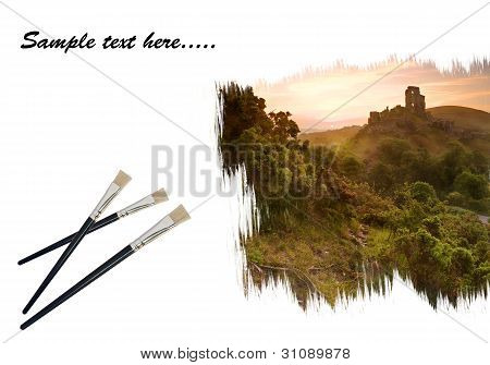 Creative Concept Image Of Paint Brushes Painting Romantic Fairytale Castle Landscape On Paper