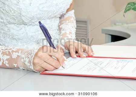 signature wedding document