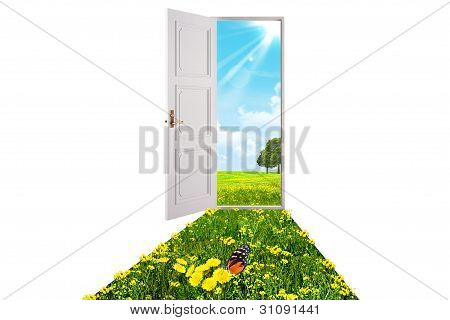 Opened White Door