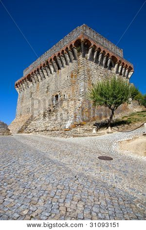 Ourem old castle at the top of the hill, in the center of Portugal