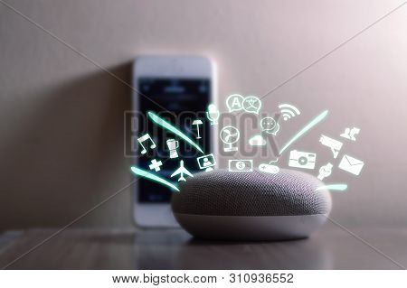 poster of Smart Home Assistant Device, Virtual Assistant , Artificial Intelligence, Iot Internet Of Things Con