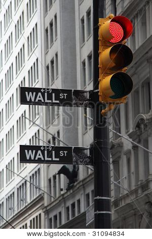 NEW YORK - JUNE 20: A symbolic photo of Wall street signs with a red traffic light on June 20, 2011
