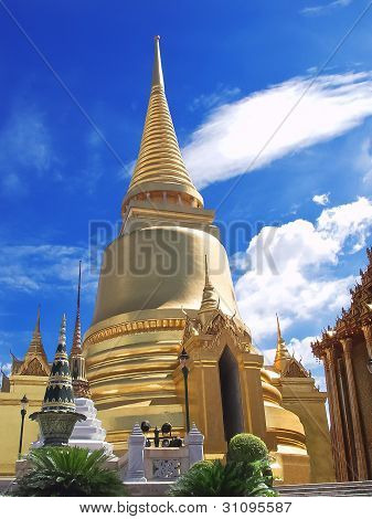 Golden Pagoda At Wat Phra Keao Temple In Grand Palace, Bangkok Thailand