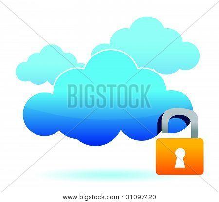 unlock cloud computer unsafe concept illustration design