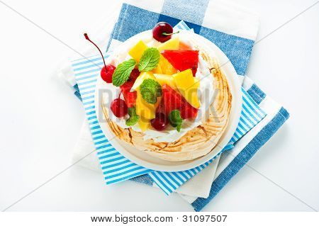 Pavlova With Fresh Fruit (mango, Pineapple, Watermelon, Cherry) Ready  To Serve, On White Background