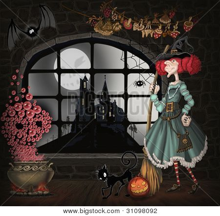 illustration with a witch for Halloween
