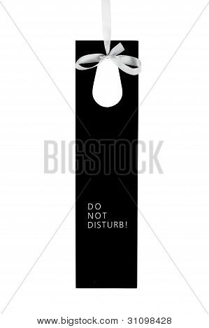 Do Not Disturb Hotel Door Label On Ribbon With Text