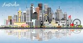Australia City Skyline with Gray Buildings, Blue Sky and Reflections. Tourism Concept with Historic  poster