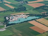 Gravel Pit With Pond - Aerial View - Commercial Gravel And Sand Quarry - Gravel Industry poster