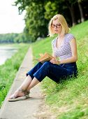 Inspired By Novel Author. Student Girl With Book Outdoor. Woman In Park Reading Book. Interesting St poster