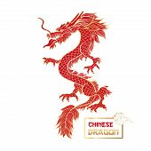 Chinese Red Dragon Hand Drawn Illustration. Asian Mythology Serpent. Traditional Oriental Mystic Red poster