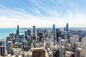 Chicago City Skyscrapers Aerial View, Blue Sky Background. Skydeck Observation poster