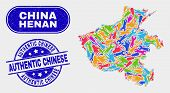 Tools Henan Province Map And Blue Authentic Chinese Distress Stamp. Colored Vector Henan Province Ma poster