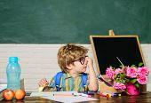 Education, Elementary School, Learning, People Concept. Little Schoolboy In Classroom. Schoolboy Doi poster