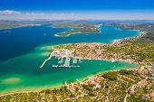 Beautiful Croatian Coast, Murter Island Archipelago And Town Of Betina From Air, Dalmatia Croatia poster