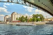 Modern River Ship On The Background Of The Bridge In The City. The Ship Sails On The City River Sail poster