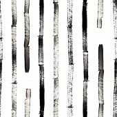 Bamboo, Watercolor Hand Drawing, Isolated Abstract Texture, Seamless Pattern, Black Line Style, Pain poster