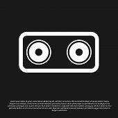 Black Stereo Speaker Icon Isolated On Black Background. Sound System Speakers. Music Icon. Musical C poster