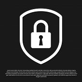 Black Shield Security With Lock Icon Isolated On Black Background. Protection, Safety, Password Secu poster
