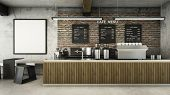 Cafe Shop  Restaurant Design Minimalist   Loft,counter Wood Slat,top Counter Metal,mock Up On Wall C poster
