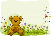 picture of teddy-bear  - Illustration of a Toy Bear Surrounded by Plants - JPG