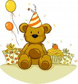 foto of teddy-bear  - Illustration of a Toy Bear Celebrating its Birthday - JPG