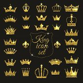 Gold Crown Set. Glitters Set Of King Crowns. poster