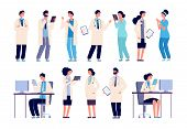 Doctor Characters. Medical Hospital Staff People. Doctor Nurse Surgeon Pharmacist Dentist In Medic U poster