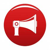 Single Megaphone Icon. Simple Illustration Of Single Megaphone Vector Icon For Any Design Red poster