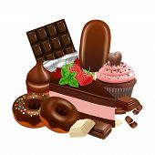 Chocolate Desserts Collection. Realistic Cupcake, Cake, Glazed Donuts, Chocolate Bar Vector Illustra poster