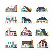 Modern Buildings. Living Houses Villa Townhouse Suburban Facade Constructions Tower Vector Flat Illu poster