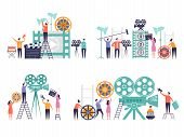 Movie Production Concept. Flat Characters Making Films Video Camera Clapboard Filming Person Vector  poster