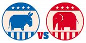 Vector Animals Donkey And Elephant. Republican And Democrat Political Parties Usa. American Politica poster
