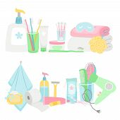 Cartoon Hygiene Elements And Accessories Vector Set. Hygiene Elements, Toothpaste And Toothbrush, To poster