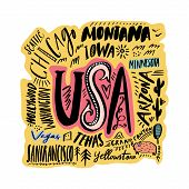 Cartoon Map Of Usa Vector Illustration. Printable Art For Textile, Souvenirs, Picture For Website, P poster