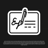 Black Signed Document Line Icon Isolated On Black Background. Pen Signing A Contract With Signature. poster