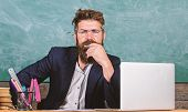 Pay Attention To Details. Teacher Concentrated Bearded Mature Schoolmaster Listening With Attention. poster