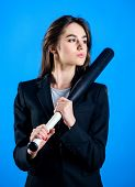 Life Game. Pretty And Dangerous. Woman Pretty Girl Bear Formal Jacket And Hold Baseball Bat. Busines poster