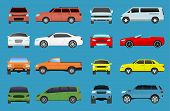 Car Type Model Vehicle Objects Icons Set Multicolor Automobile Supercar. Wheel Symbol Car Types Coup poster