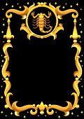Scorpio Zodiac Sign With Golden Frame. Horoscope Symbol. Stylized Astrological Illustration. poster
