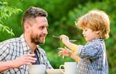 Feed Son Solids. Dad And Boy Eat And Feed Each Other Outdoors. Ways To Develop Healthy Eating Habits poster