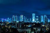 Tel Aviv Panorama At Night,  Tel Aviv Skyline at Night,  Israel poster